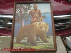 Hamms Beer Faux Painting Mountain Man And Grizzly Bear 70s