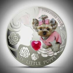 Fiji 2013 YORKSHIRE TERRIER My Little Puppy Dogs & Cats 1 Oz Proof Silver Coin