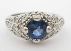 1.74 Tcw Antique Style Natural Blue Sapphire And Diamond Cocktail Ring Size 6.5