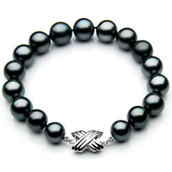 Pacific Pearls® 10-12mm Tahitian Pearl White Gold Bracelet Gifts For Best Friend