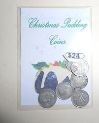6 Sterling Silver Christmas Pudding 3d 's Australian Coins In A Special Gift Bag