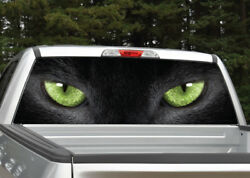 Black Cat Panther Eyes Green Rear Window Decal Graphic For Truck Suv