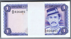 Brunei Complete Uncirculated Pack Of 1 Ringgit Pick 6c Of 1985 's 026401-500
