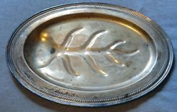 Vintage Antique Silver On Copper Oval Shaped Serving Tray Patina Meat Server