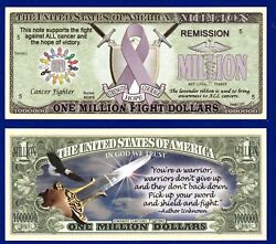 5-fight All Cancer Lavender Ribbon Million Dollar Bills Collectible- Novelty Y2