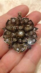Antique Edwardian 1.80 Ct. Old Mine Cut Diamond Silver And Gold Brooch/pendant