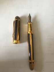 Michel Perchin Blue And Gold Ribbed Limited Edition Fountain Pen #43174321