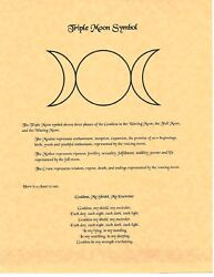 Book Of Shadows Spell Pages Triple Moon Symbol Wicca Witchcraft Bos