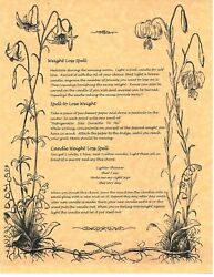 Book Of Shadows Spell Pages Wiccan Weight Loss Spells Wicca Witchcraft Bos