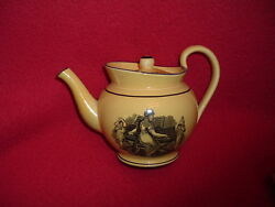 Lb2 Staffordshire Canary Black Transfer Teapot Lady Playing Piano Ca. 1815