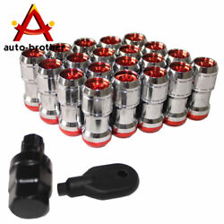 Red Jdm Extended Dust Cap Steel Lug Nuts Wheel Rims Tuner M12x1.5 With Lock