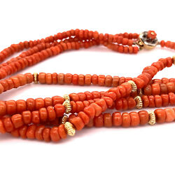 Classic 1930and039s Natural Salmon Coral Double Strand Gold Bead 14k Necklace 22