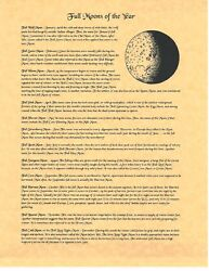 Book Of Shadows Spell Pages Full Moons Of The Year Wicca Witchcraft Bos