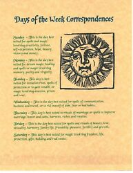 Book Of Shadows Spell Pages Days Of The Week Wicca Witchcraft Bos
