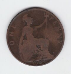 1902 Great Britain Uk One Penny Coin King Edward A-150