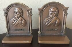 Rare Longfellow Bookends By Bradley And Hubbard Ca. 1925