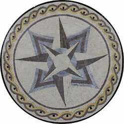 Abstract Star Design round Medallion Twisted Rope Marble Mosaic MD1952