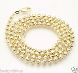 4mm Solid Half Moon Diamond Cut Bead Ball Chain Necklace Real 14k Yellow Gold