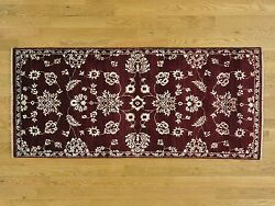2and0398x6and039 Tone On Tone Modern Agra Burgundy Runner Hand Knotted Rug R27418