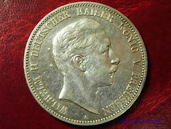 1903 Prussia Germany Large Silver 5 Mark-kaiser Willhelm-3