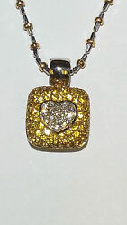 18k Gold Yellow Sapphires And Diamonds Pendant With Special Bail Enhancer 6.2mm