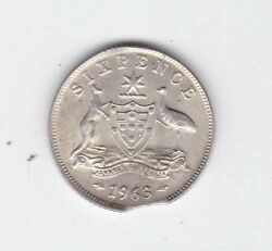 1963 Silver 6p Sixpence Miss Strike Clipped Variety Australia D-458