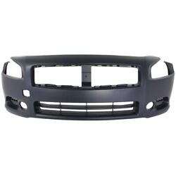 Front Bumper Cover For 2009-2014 Nissan Maxima W/ Fog Lamp Holes Primed