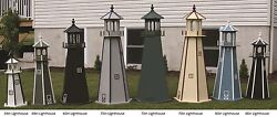 Amish-made Wooden Lighthouse With Lighting 121 Tall - Available In 20 Colors
