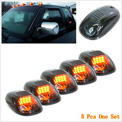 5pcs Smoked Amber Led Cab Roof Top Marker Running Lights For Suv Truck Pickup Rv