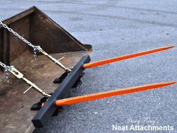 Bucket Bale Spear For Round And Square Hay Bales - 2 X 49 Prongs