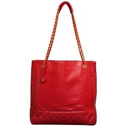 Vintage N/s Shopping Tote Handbag Purse In Red Leather