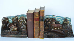 Antique Black Forest Hand Carved Oak Wood Bookends Book Ends - Mountain Chalet