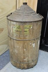 Antique 8 Gallon Wood Covered Oil Gas Can 4