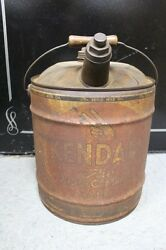 5 Gal Can Kendall The 2000 Mile Oil- Wood Handle / Spout With Lid All Original
