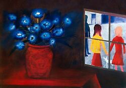 Charles Blackman Blue Bouquet And Window Signed, Limited Edition Print 66 X 91