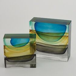 6 Tall Storm Block Sculpture Hand Blown Solid Glass Stormy Sunset Tri-colored
