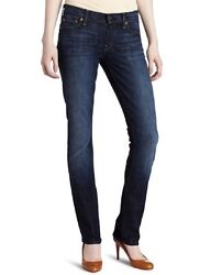 7 For All Mankind Womenand039s Straight Leg Jeansnouveau New York Darkcheck Size