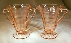 Hocking Glass Co. Block Optic Pink Cone-shaped Footed Creamer And Sugar Bowl Set