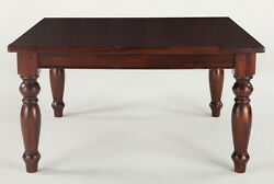 58 Square Dining Gathering Table Mango Wood Hand Turned Leg Smooth Finish Brown