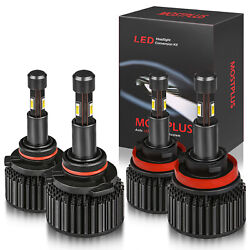 Led Headlight Combo Set 9005+h11 High And Low Beam Bulbs 6000k 4 Sides Tx1860 Chip