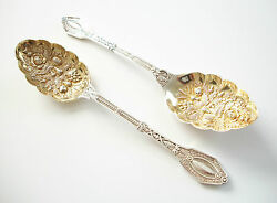 Victorian Silver Plate Berry Serving Spoons - Leather Case - U.k. - Circa 1878