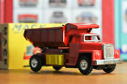 Antique Tin Toy Mack Dump Truck Friction Powered Tin And Plastic Box