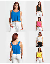 100 Pack Womens Ladies Fitness Soft Loose Flowy Boxy Crop Tank Top Wholesale Lot