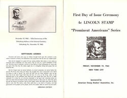 1282-c1 First Day Ceremony Program 4c Abraham Lincoln Stamp W/fdc