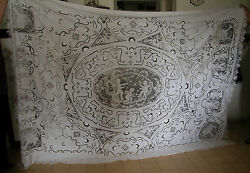 A Stunning Antique Big Bedspread With A Lot Of Lace Work -showing Angelsandcupids