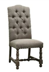 Set Of Four Chair Linen Tufted Brown Solid Wood Frame Hand Turned Legs