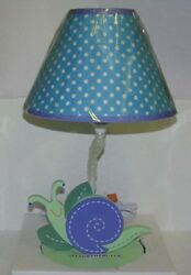 Sumersault Summer Friends Blue Green Smiling Snail Lamp Base And Fabric Shade New