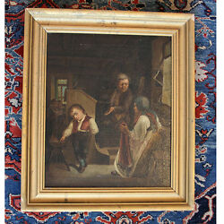 Continental School 19th Century Interior Scene With Figures Oil On Canvas