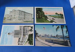 4 Postcards - Tampa FL - City Hall Clearwater Causeway Desoto Hotel