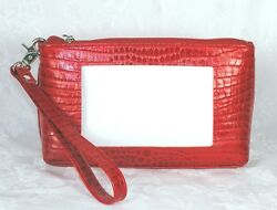 Cosmetic Case Red Leather Evening Purse for Needlepoint Canvas by LEE BAG 45